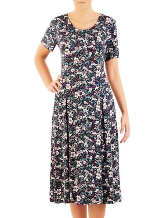 Sukienka z dzianiny, rozkloszowana kreacja w kwiaty 30443