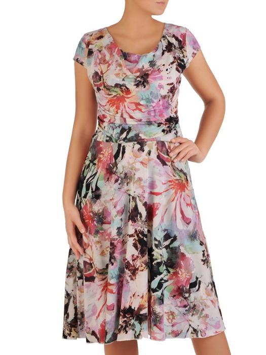 """Sukienka z dzianiny, rozkloszowana kreacja z dekoltem typu """"woda""""  21907."""
