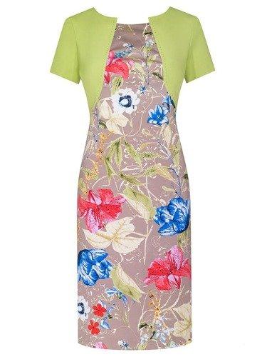 Sukienka z imitacją bolerka Fiona III, wiosenna kreacja w kwiaty