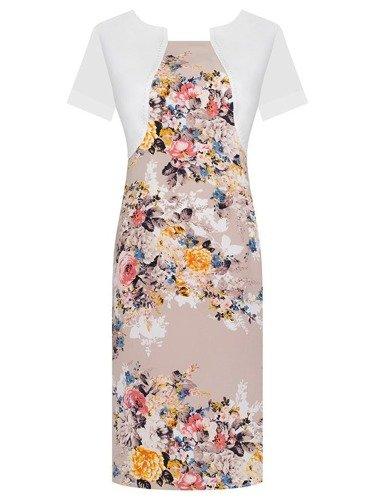 Sukienka z imitacją bolerka Fiona IV, wiosenna kreacja w kwiaty