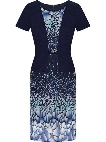 Sukienka z imitacją żakietu Mirella, wiosenna kreacja wyszczuplająca.
