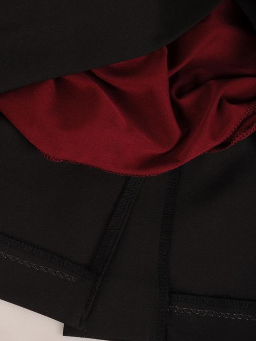 Sukienka z imitacją żakietu, prosta kreacja z ozdobnym kołnierzem 23355