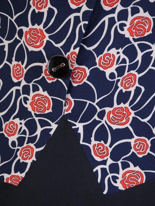 Sukienka z imitacją żakietu, prosta kreacja z ozdobnym kołnierzem  25327