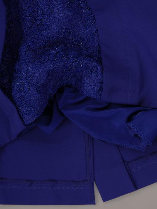 Sukienka z koronkową wstawką, chabrowa kreacja wyszczuplająca 21772