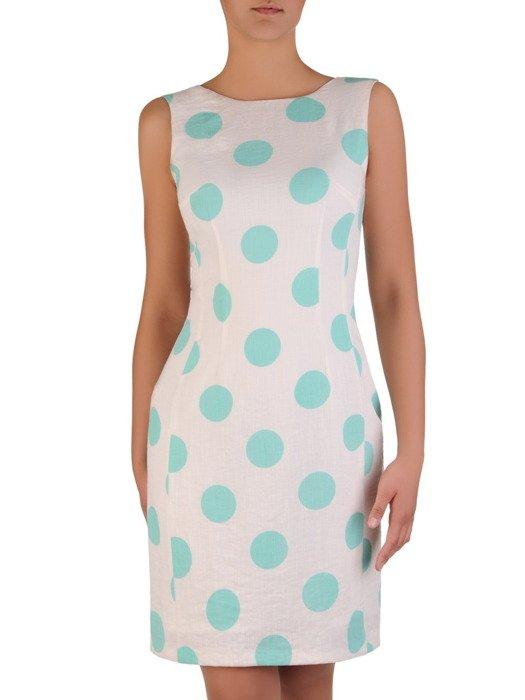 Sukienka z lnu Marcelina II, wiosenna kreacja w grochy