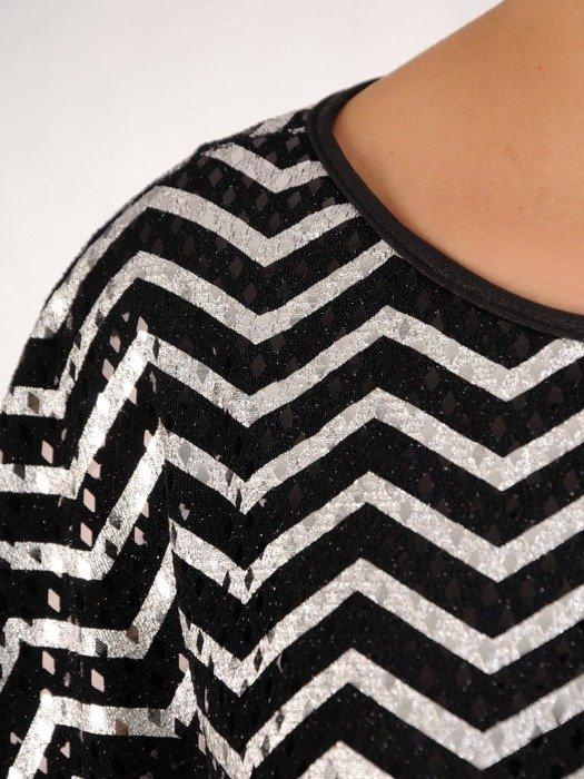 Sukienka z luźnym, połyskującym topem, kreacja maskująca brzuch 24225
