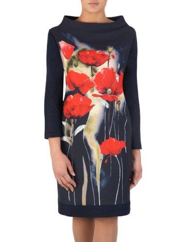 Sukienka z modną stójką 14248, nowoczesna kreacja w kwiaty.