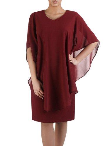Sukienka z narzutką maskującą brzuch Leonarda II, kreacja z eleganckiego szyfonu.
