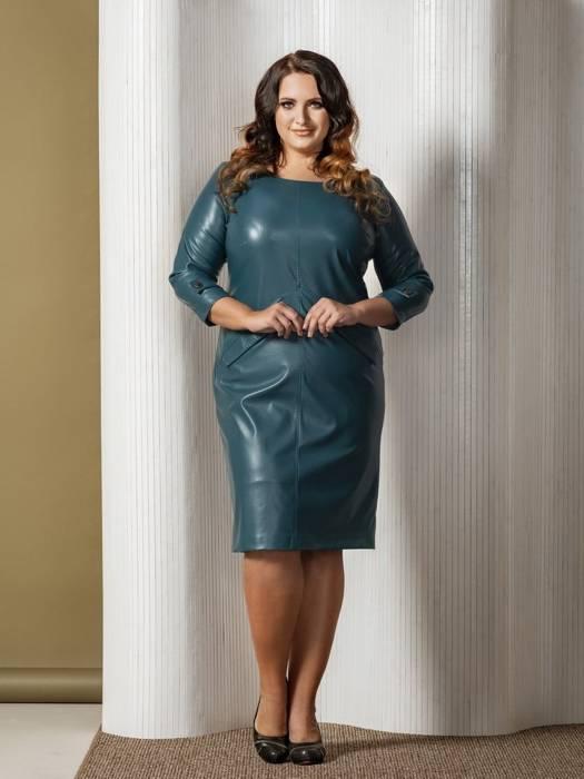 Sukienka z ozdobnymi patkami, zielona kreacja z ekologicznej skóry 27773