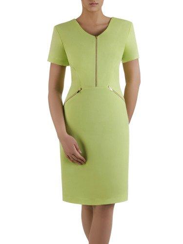 Sukienka z ozdobnymi zamkami Emilia IV, piękna kreacja w kolorze pistacjowym.