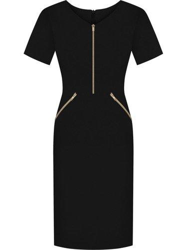 Sukienka z ozdobnymi zamkami Emilia VIII, piękna kreacja w kolorze czarnym.