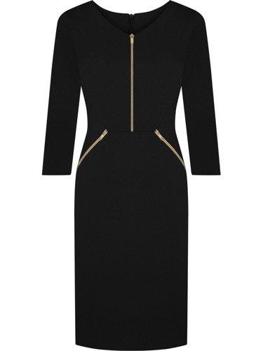 Sukienka z ozdobnymi zamkami Emilia XII, piękna kreacja w kolorze czarnym.
