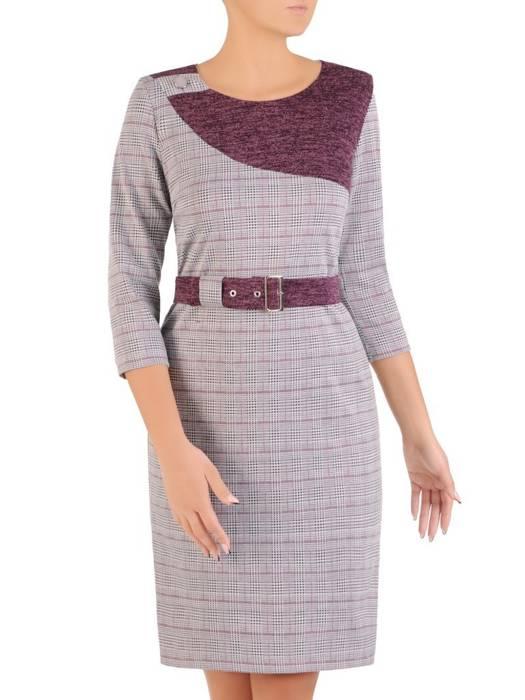 Sukienka z paskiem, prosta kreacja z kontrastowymi wstawkami 27598