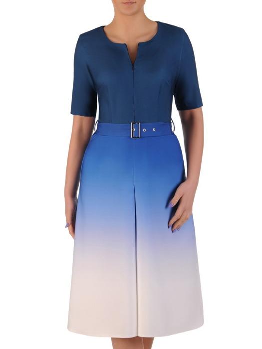 Sukienka z paskiem, wiosenna kreacja z cieniowanej tkaniny 20014.