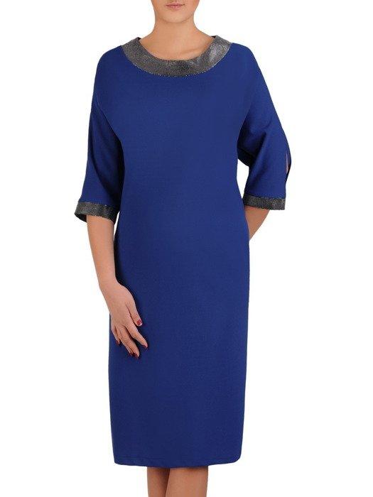 Sukienka z połyskującymi wstawkami, nowoczesna kreacja na wieczór 19113