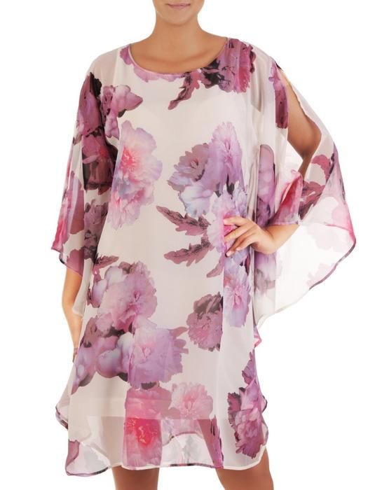 Sukienka z szyfonu, nowoczesna kreacja w fasonie maskującym brzuch 21727.