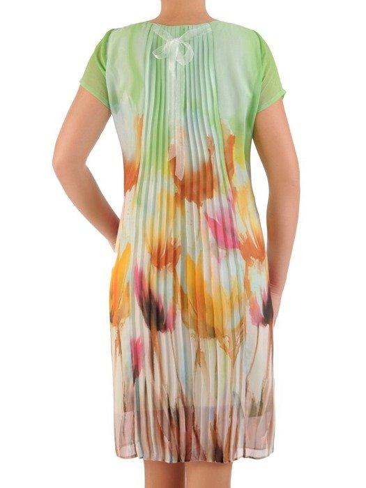 Sukienka z szyfonu, prosta kreacja w kwiaty 26647