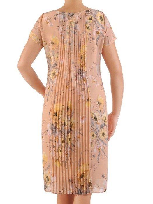 Sukienka z szyfonu, prosta kreacja w kwiaty 26648