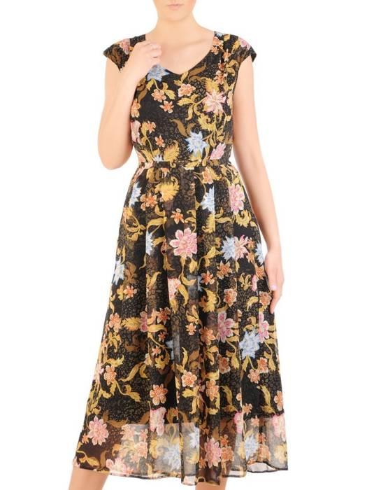 Sukienka z szyfonu, zwiewna kreacja w kwiaty 29962