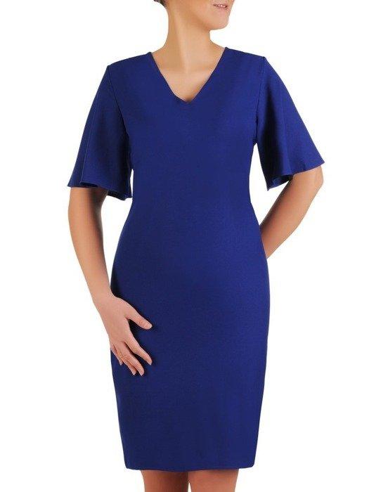 Sukienka z tkaniny, chabrowa kreacja z luźnymi rękawami 25589