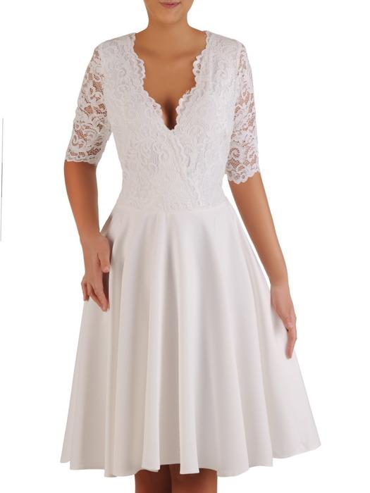 Sukienka z tkaniny i gipiury, kreacja w rozkloszowanym fasonie 22836