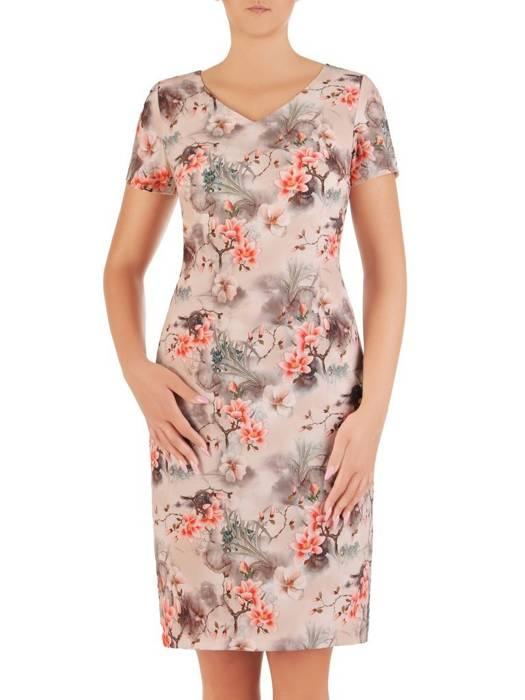 Sukienka z tkaniny, prosta kreacja w oryginalnym wzorze 26497