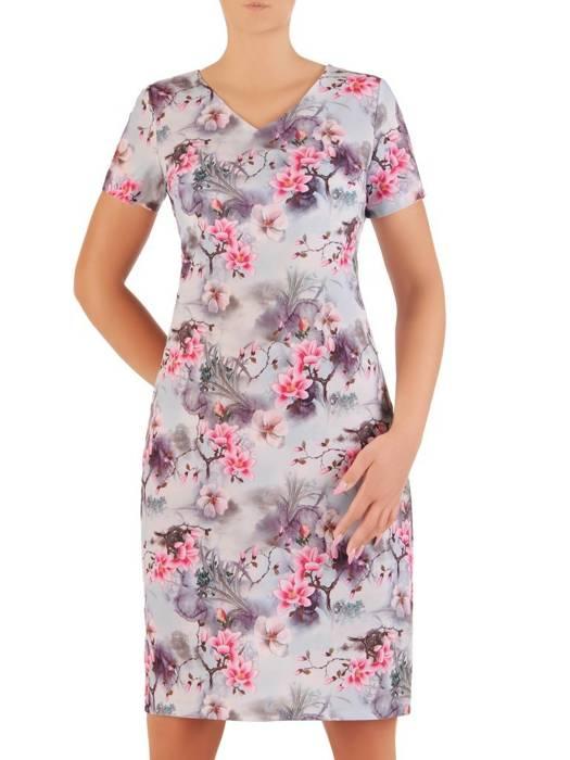 Sukienka z tkaniny, prosta kreacja w oryginalnym wzorze 26502