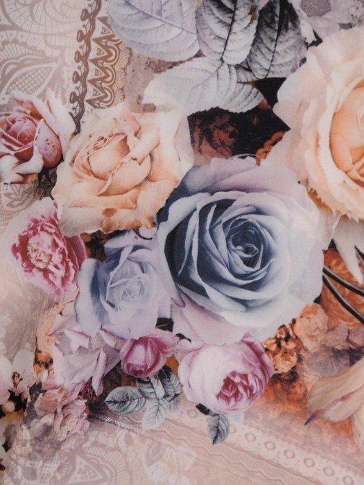 Sukienka z tkaniny, rozkloszowana kreacja w kwiatowym wzorze 25709