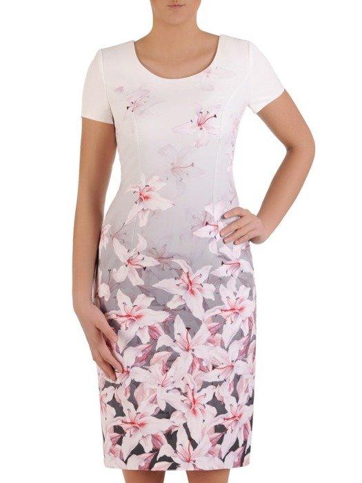 Sukienka z tkaniny, wiosenna kreacja w kwiaty 25641