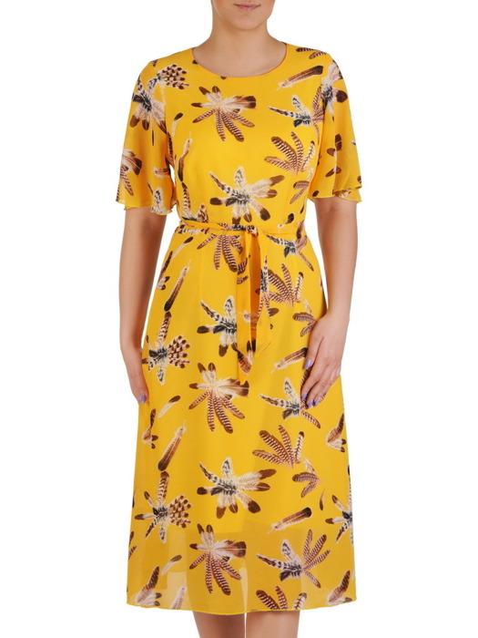 Sukienka z tkaniny, żółta kreacja w oryginalnym wzorze 20470.