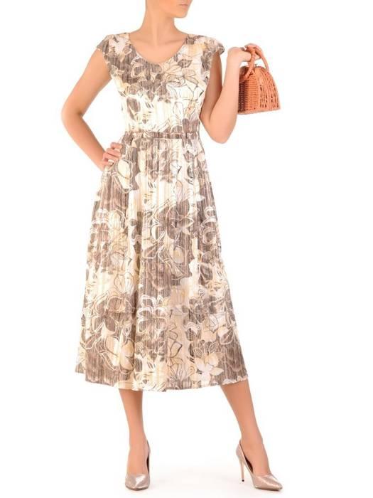 Sukienka z tkaniny, zwiewna kreacja w kwiaty 29661