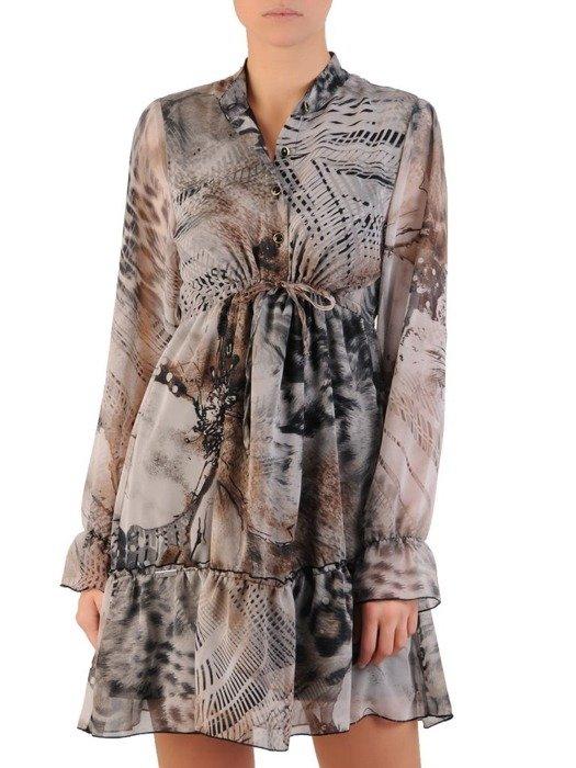Sukienka z wiązaniem pod biustem, wyszczuplająca kreacja z szyfonu 23782