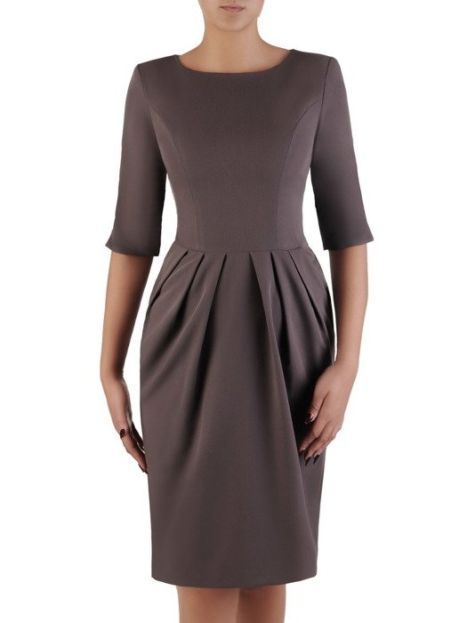 Sukienka z zakładkami Łucja IV, elegancka kreacja z efektownym marszczeniem.