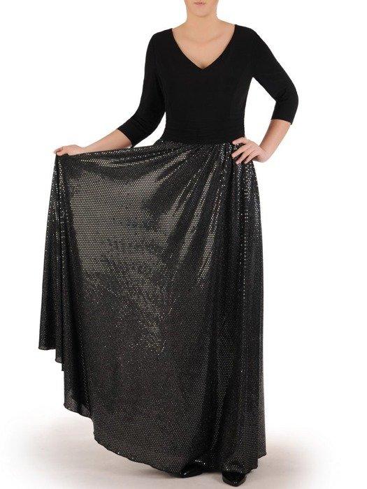 Suknia maxi w nowoczesnym fasonie, kreacja z efektownym świecącym dołem 24804