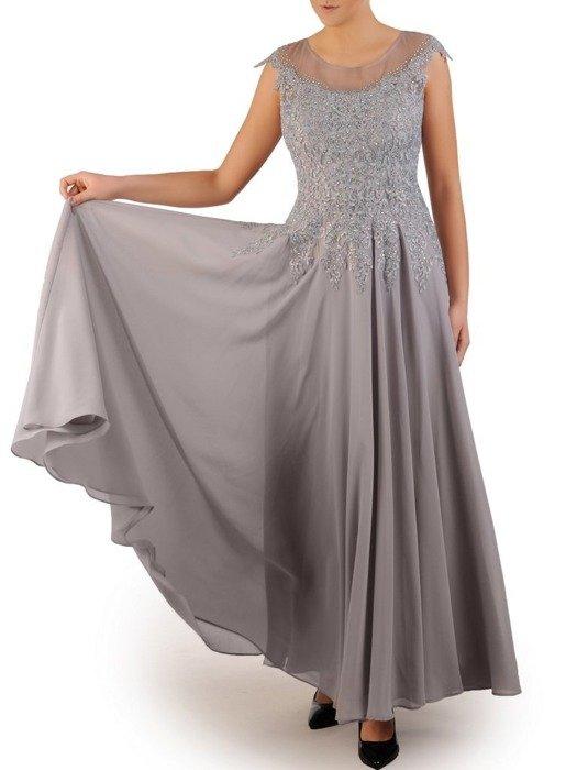 Sylwestrowa sukienka, popielata kreacja z koronki i szyfonu 24057