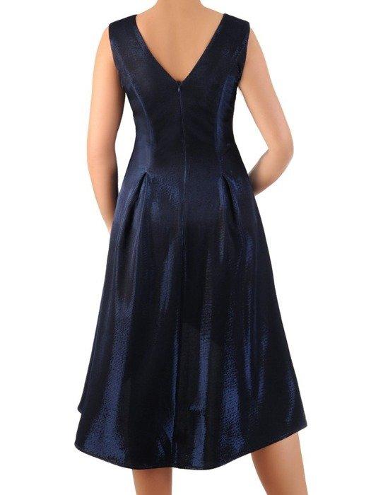 Sylwestrowa sukienka z kontrafałdami, kreacja z dłuższym tyłem 24362