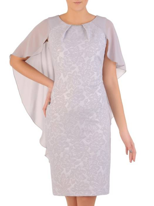 Szara, elegancka kreacja na wiosnę z ozdobną szyfonową narzutką 28557