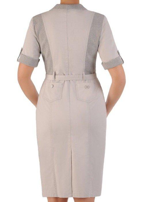Szara sukienka wiązana w pasie, modna kreacja z dzianiny 24642