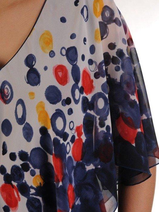 Szyfonowa granatowa sukienka maskująca niedoskonałości 25096