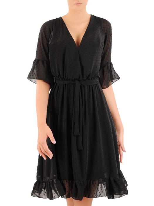 Szyfonowa sukienka z kopertowym dekoltem i falbankami 30397