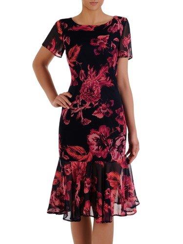 Szyfonowa sukienka z modną falbaną 16512, zwiewna kreacja w kwiaty.