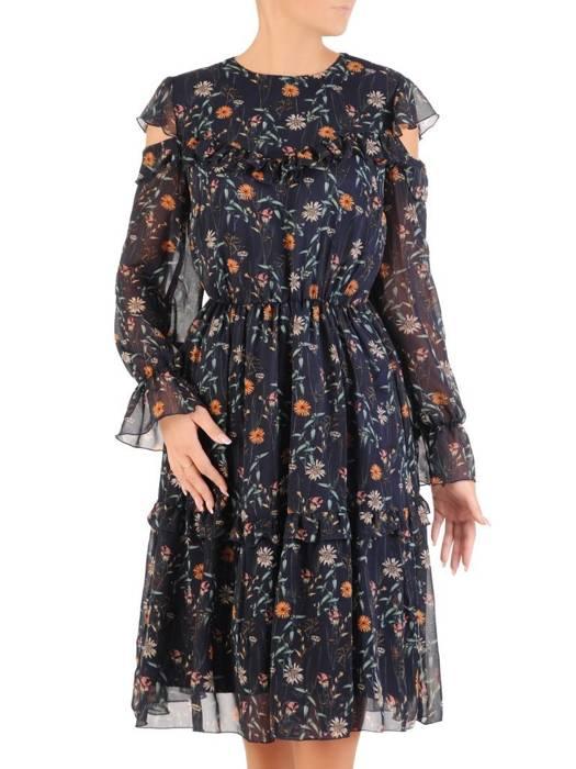 Szyfonowa sukienka z ozdobnie wyciętymi ramionami 27366