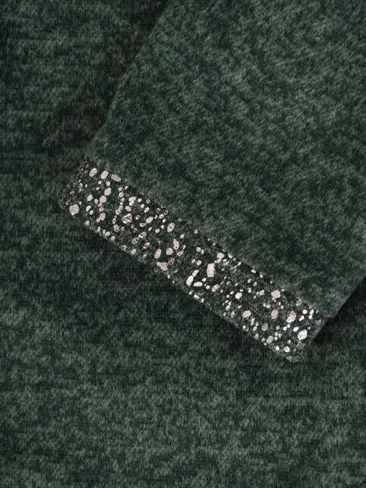 Trapezowa kreacja, zielona sukienka z połyskiem 27291