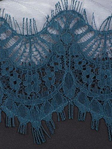 Trapezowa sukienka z dzianiny Anetta II, kreacja wykończona koronką