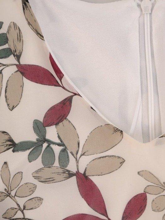 Trapezowa sukienka z falbanami, kreacja z gumkami na rękawach 25628