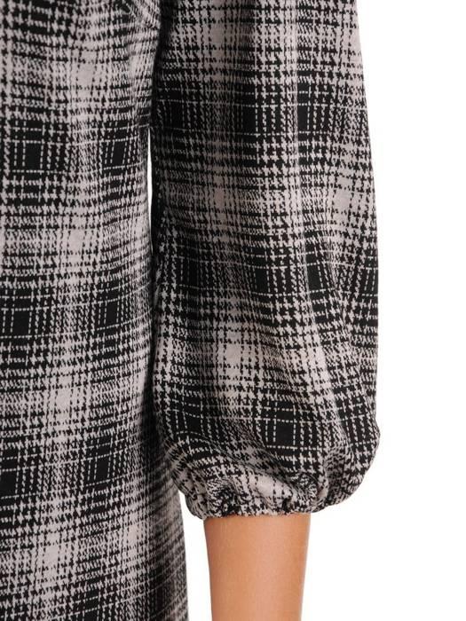 Trapezowa sukienka z falbanami, kreacja z gumkami na rękawach 26995