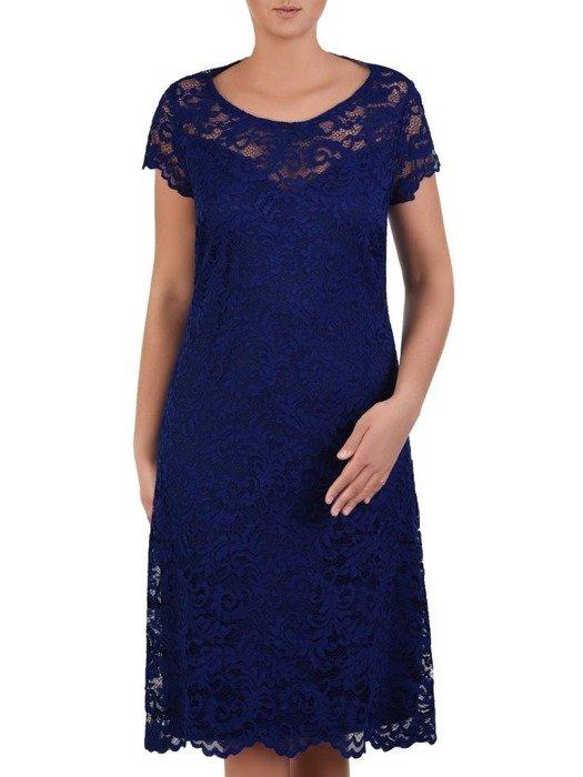 Trapezowa sukienka z koronki, kreacja z wycięciem na plecach 23004