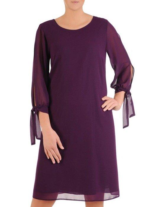 Trapezowa sukienka z szyfonu, kreacja z wiązaniem na rękawach 23420