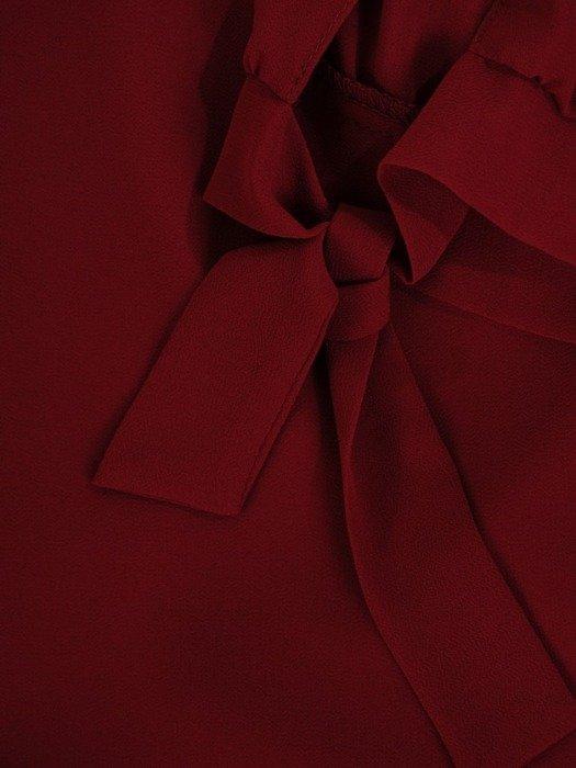 Trapezowa sukienka z szyfonu, kreacja z wiązaniem na rękawach 24434