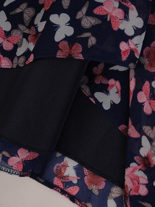 Trapezowa sukienka z szyfonu, wyszczuplająca kreacja w motyle 23689